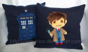 A pair of Doctor Who pillows by sequinjar