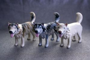 Three Pups--Custom Painted Dog Figurines by MiniMynagerie