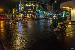 good morning Vietnam - motorbikes in the night by Rikitza