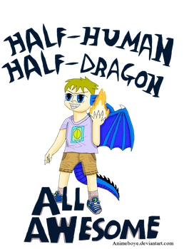 Half-Human, Half-Dragon Shirt Design by Animeboye