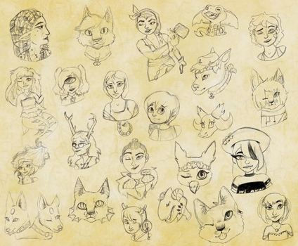 charcoal sketches by AlphaoftheClan