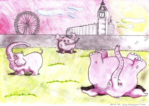 Elephants in London colored by ChickenFierce