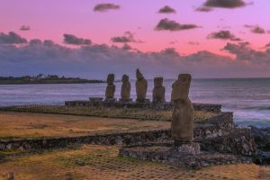 Easter Island - Ahu Tahai Sunset by TarJakArt