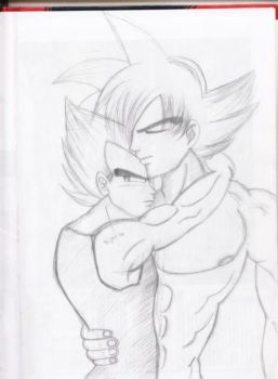 vegeta and goku hug by SSJ-Princess-Bijou