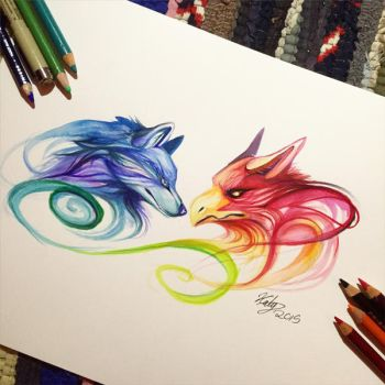 195- Phoenix and Wolf by Lucky978