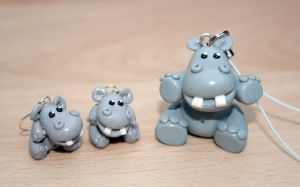 hippo keyring and earrings by elainewhy