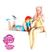 Fluttershy and Rainbow dash Superheroine Cosplay by ArisRUS