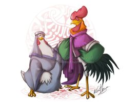 Lady Kluck and Alan a Dale - disney by nuriaabajo