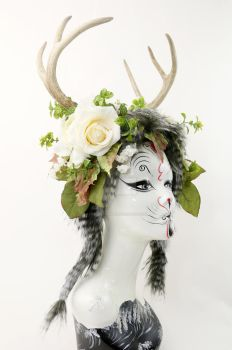 Feral Flowers Antler Headdress by ctrlaltvamp