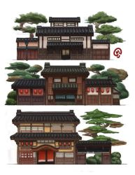 Building Design - Edo Japan by Changinghand