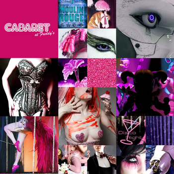 Cabaret at Freddy's: Moodboard and Logo by PinkyPills