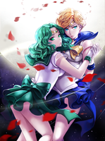 Sailor Uranus and Sailor Neptune by hotpppink