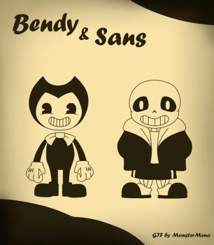 Bendy and Sans (GIF!) by MonsterMena
