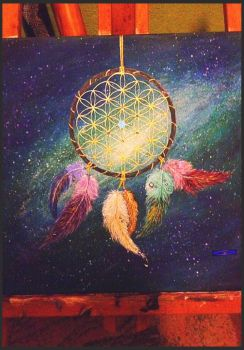 -dreamcatcher + flower of life- by Gold-Angel