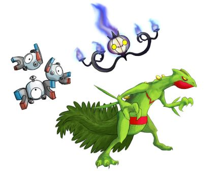 Sceptile Chandelure and Magneton by Marioshi64