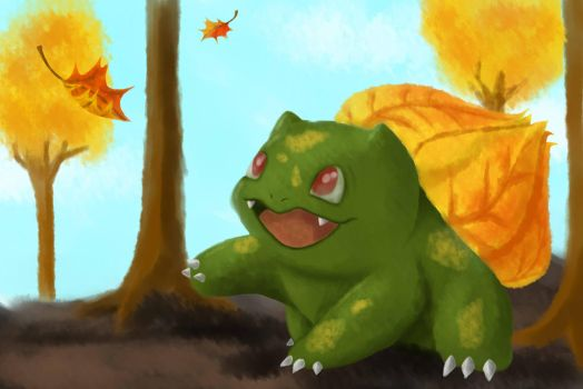 Day 5 - Autumn bulbasaur by PoppingBubble
