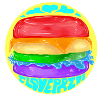 Yellow Rainbow Burger - I Love Pride by Aidadaism