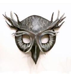 Ghostly Grey Owl Leather Mask by teonova