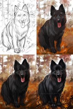 Making of Dog commission by Lambidy