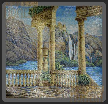 Panel 'Greece' in glass mosaic (2836x3092mm) by Artmoment-Rus