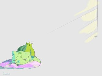 Sleeping Bulbasaur by Jyennko