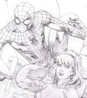 WIp - Spiderman, Spider Gwen commission by aethibert