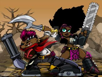 MAD MILLER and AFRO FURY by chriscrazyhouse