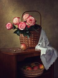 Still life with roses and apples by Daykiney