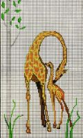 giraffe and baby by the-stitcher