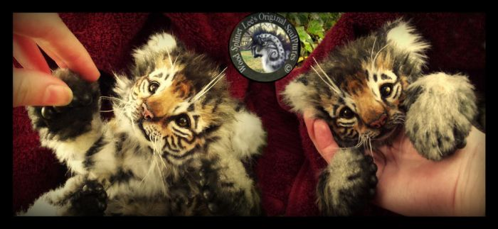 SOLD- Handmade Poseable Baby Tiger Cub! by Wood-Splitter-Lee
