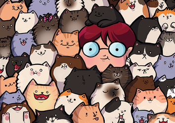 In the cat pile by kangel