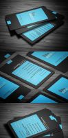Blue Modern Business Card by calwincalwin