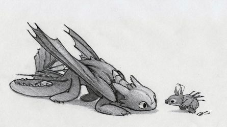 Toothless and Stitch by RobtheDoodler