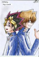 Yugi and Jonouchi by kevinkamondo