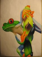 Colored Pencil Frog by flaming-mingo