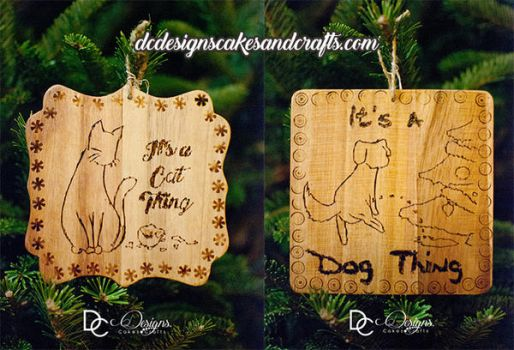 Pet wood ornaments by christi-chan