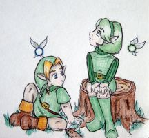 Link and Saria by darkdaughter114