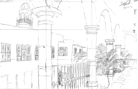 My college's hallway [outline sketch] by TheMVAproductions