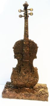 clockwork violin sculpture by richardsymonsart