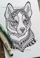 Zodiac Husky Dog Zentangle Design by WildSpiritWolf