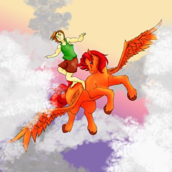 Sky Surfing at Sunset by NeighingNanny