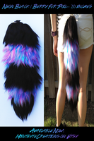 Black/Neon Berry Stripe Acrylic Fur Tail SOLD! by Xecax