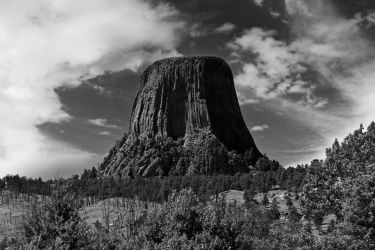 Devils Tower BW by TheArtOfaMadMan