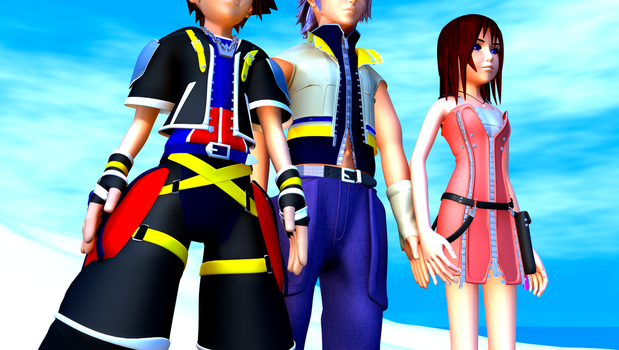 Sora, Riku, and Kairi (MidShot) by TheRPGPlayer
