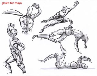 fighting poses for maya06 by AlexBaxtheDarkSide