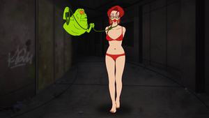 Janine Melnitz captured by Slimer by VictorZulu