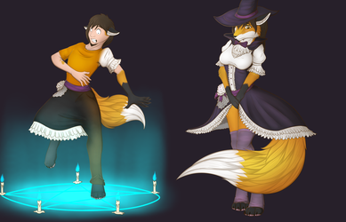 Foxy witch tf tg (art trade) by Tomek1000