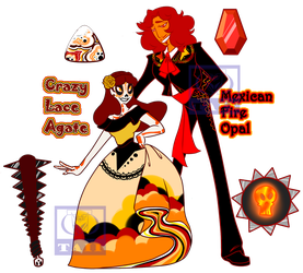 Crazy Lace and Fire Opal Revamp by Taii-of-Kaon