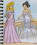 Disney Princess Brides: Jasmine And Aurora by saoumitaag