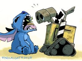 Stitch and Wall-E by Tallychyck